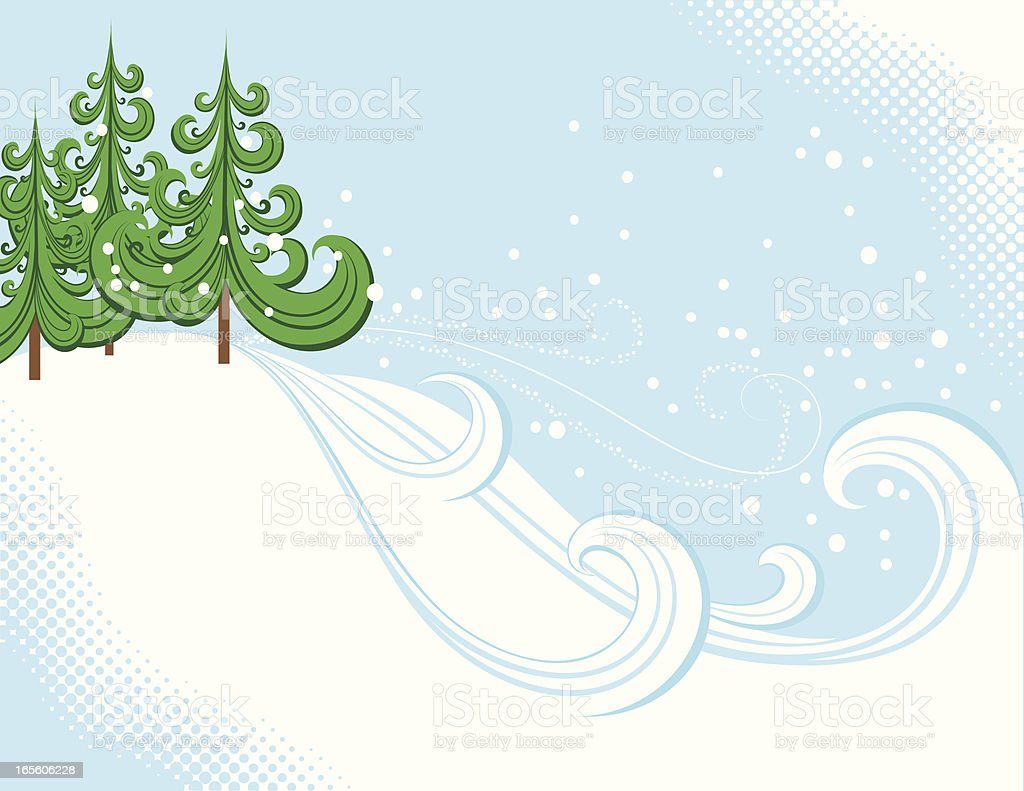 Snow Covered Hill vector art illustration