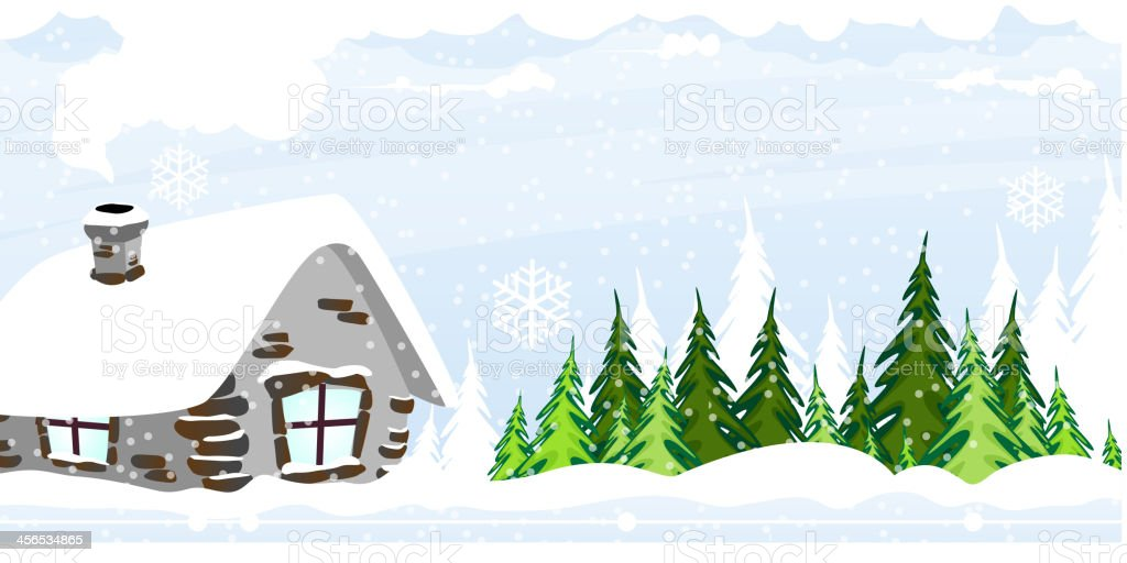 Snow covered hut royalty-free stock vector art