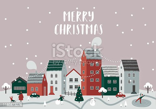 EPS 10 Snow covered little town. Merry Christmas illustration.