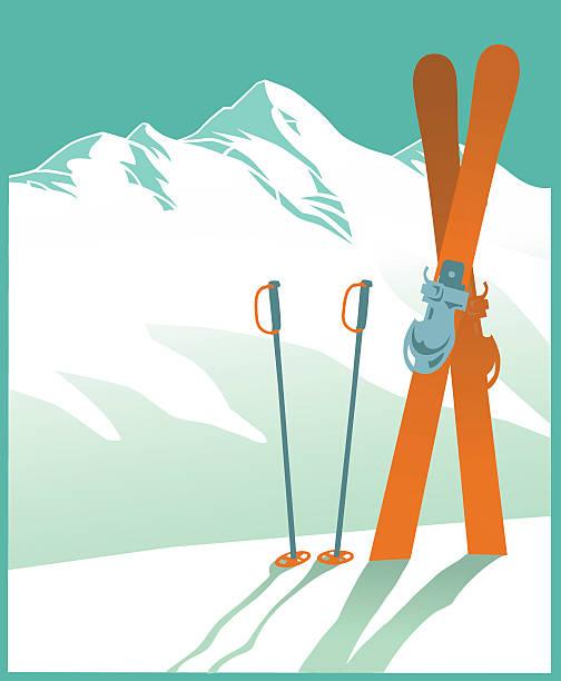 schneebedeckte berge und ski-winter - skifahren stock-grafiken, -clipart, -cartoons und -symbole