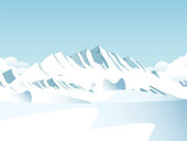 Vector Snow covered mountains