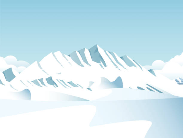 Snow covered mountains Vector Snow covered mountains arctic stock illustrations