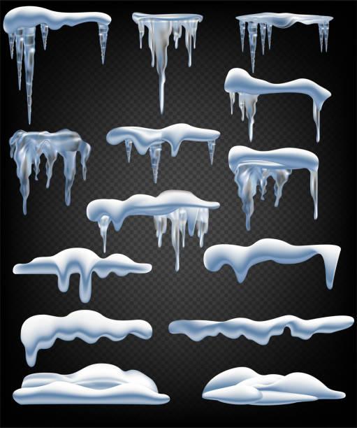 schneeelemente. schneeball und schneeverwehungen, eiszapfen und schneekapriolen. isolierter wintervektor-set. - eiszapfen stock-grafiken, -clipart, -cartoons und -symbole