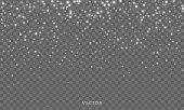Snow fall, vector shiny snowflakes overlay background, Christmas snowfall flakes and winter glitter ice frost shine effect