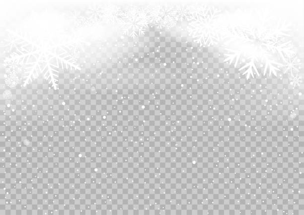 snow falls winter sky clouds Snow falls winter sky clouds on transparent background. Frosty close-up wintry snowflakes. Ice shape pattern. Christmas holiday decoration backdrop lighting technique stock illustrations