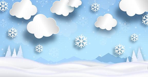 Snow field with snowfall