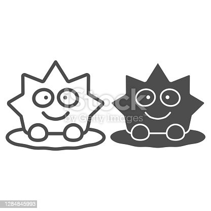 istock Snow figure line and solid icon, World snow day concept, cute snow character sign on white background, simple snowman star icon in outline style for mobile concept and web design. Vector graphics. 1284845993