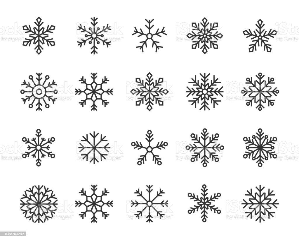 Snow Flake Icons set - Lizenzfrei Dezember Vektorgrafik