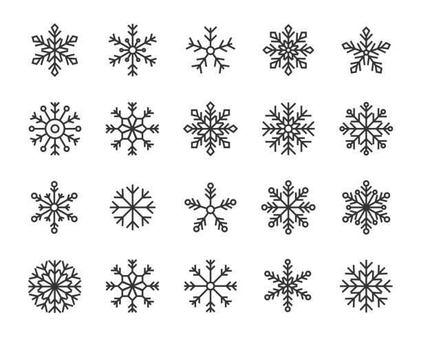 набор значков снежных хлопьев - snowflakes stock illustrations