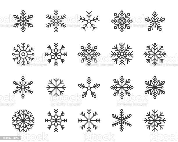 Snow Flake Icons Set Stock Vektor Art und mehr Bilder von Dezember