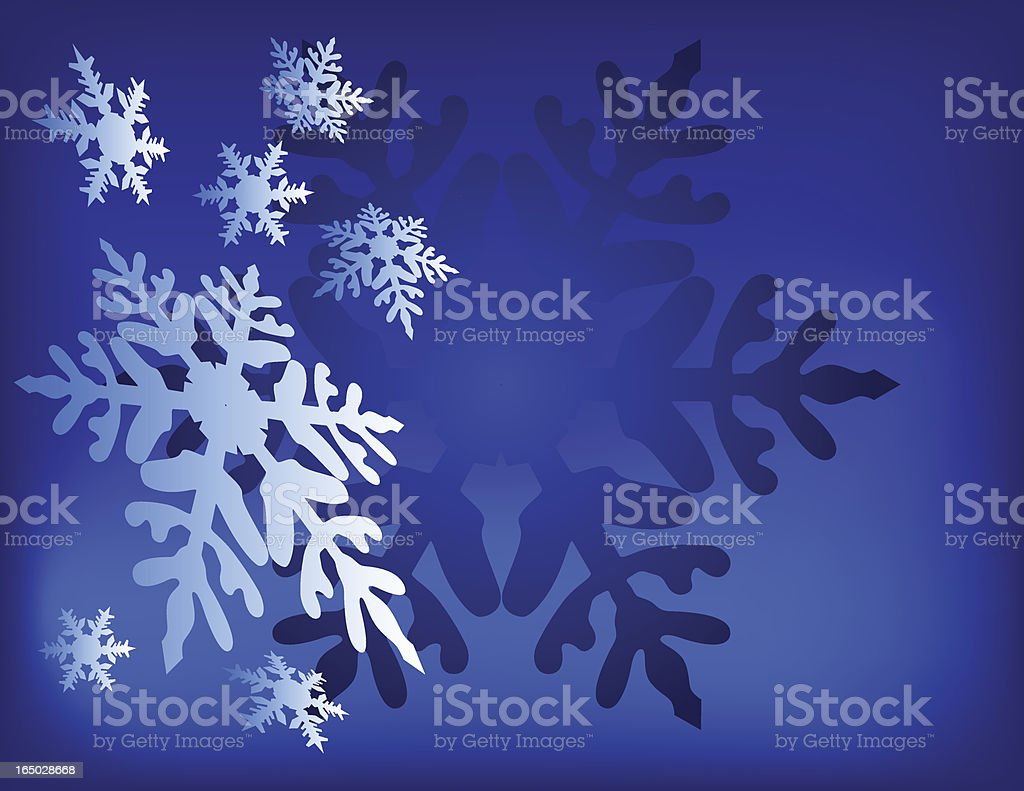 Snow Flakes Blue Background - Vector royalty-free stock vector art