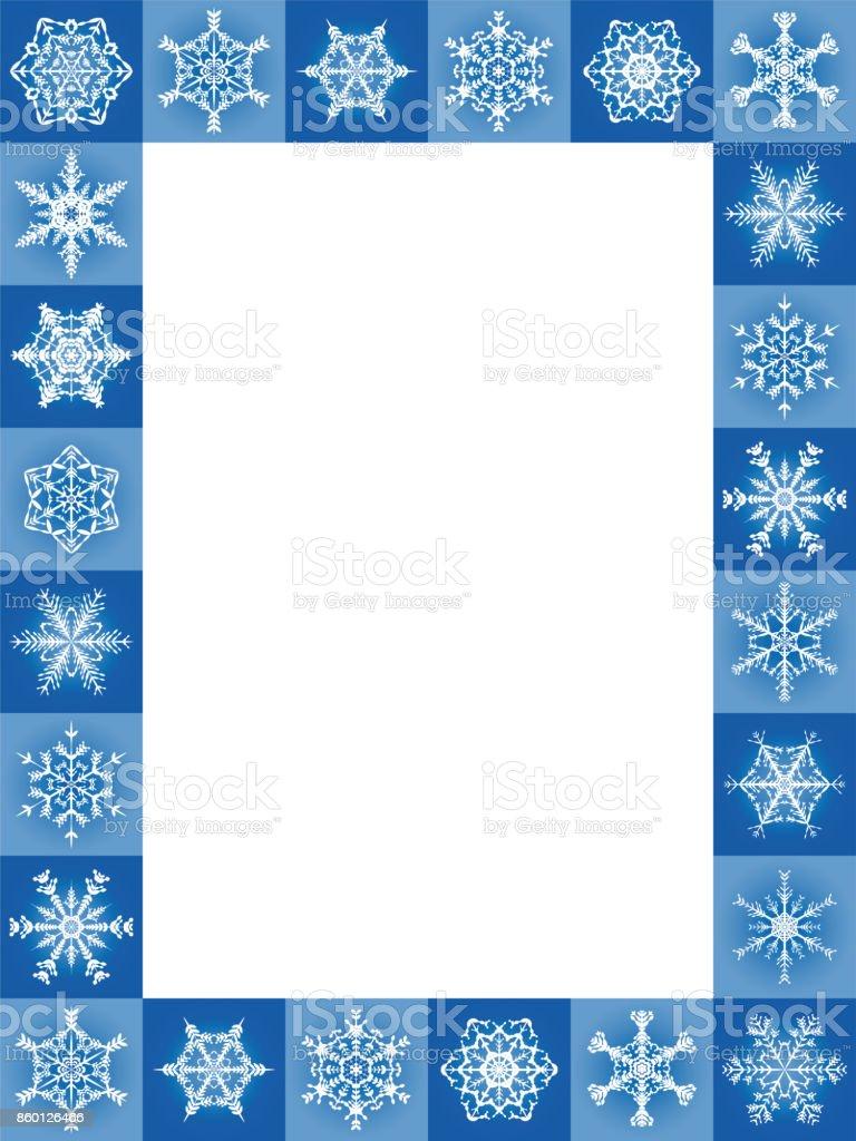 Schneeflocken Blau Weihnachten Frame Hochformat