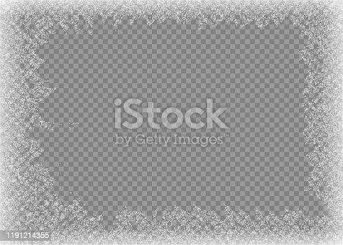 istock Snow frame. Frozen window. Window frozen glass ice. Vector illustration. 1191214355