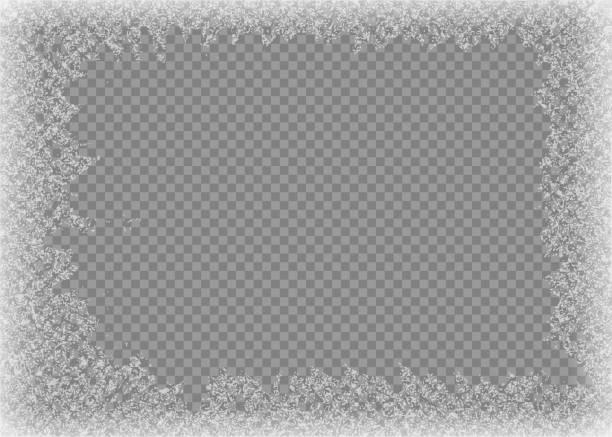 스노우 프레임. 고정 창입니다. 창 냉동 유리 얼음입니다. 벡터 그림입니다. - 서리 stock illustrations