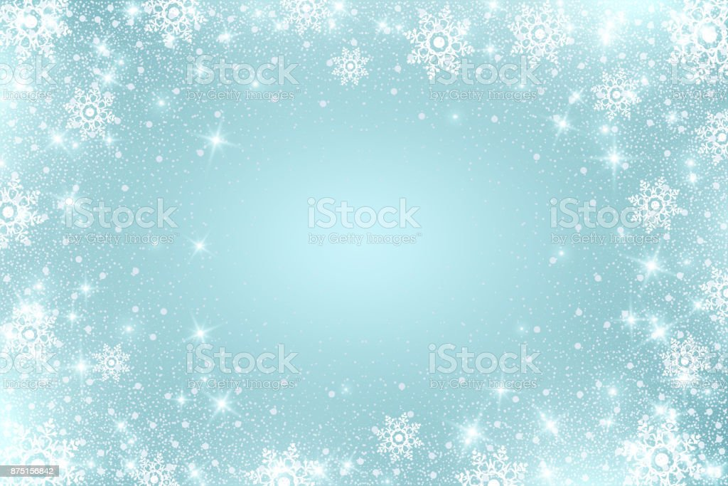 Snow frost Effect . Abstract bright white shimmer lights and snowflakes. Glowing blizzard. Scatter falling round particles. vector art illustration