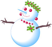 Snow girl happy and cute snowman with berries, leaves and mistletoe wreath