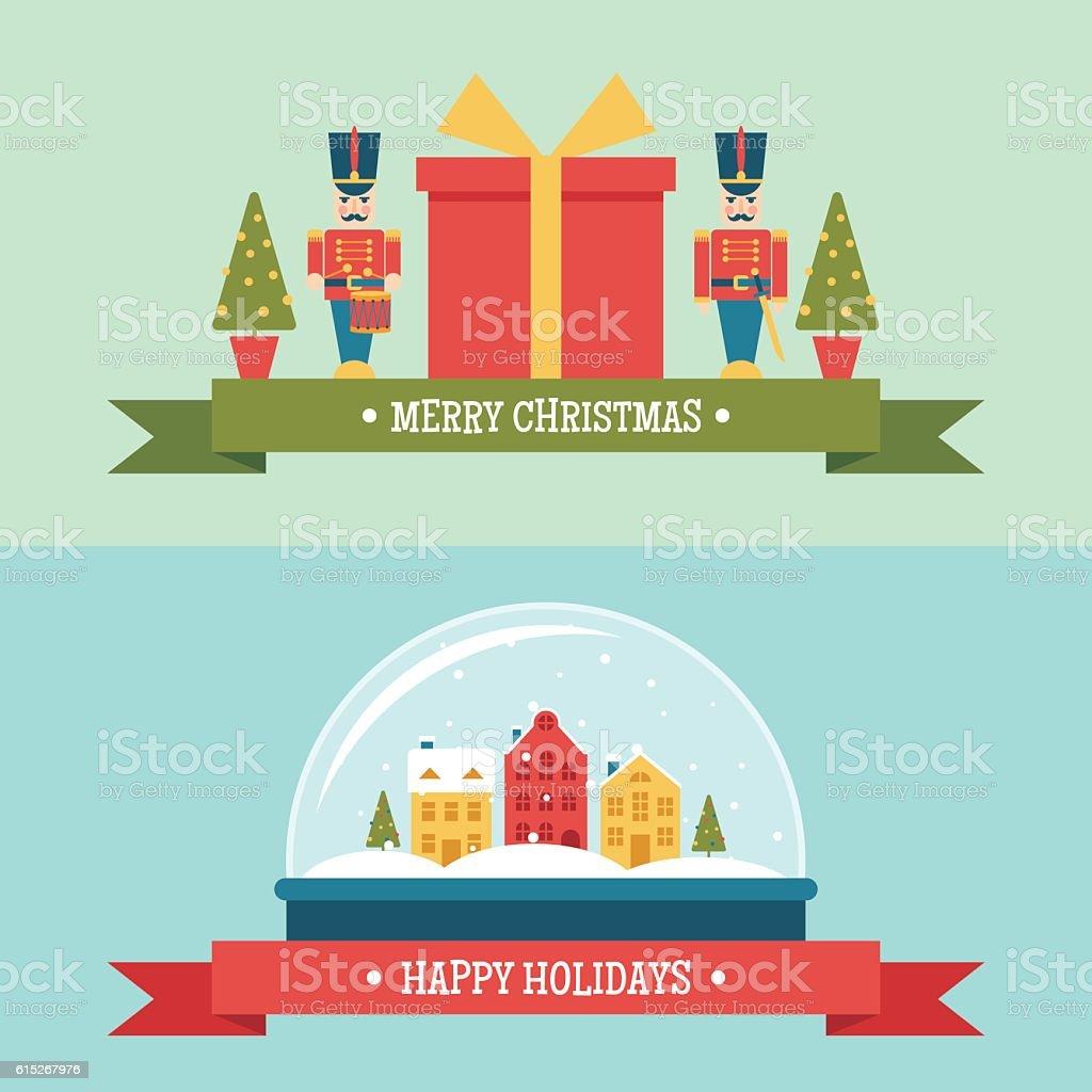 Snow globe and gift box christmas flat vector banners vector art illustration