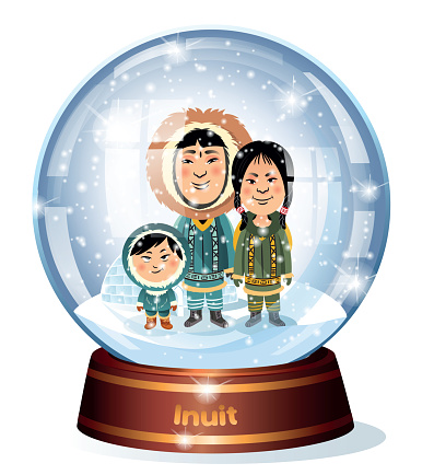 Snow Globe and Inuit family