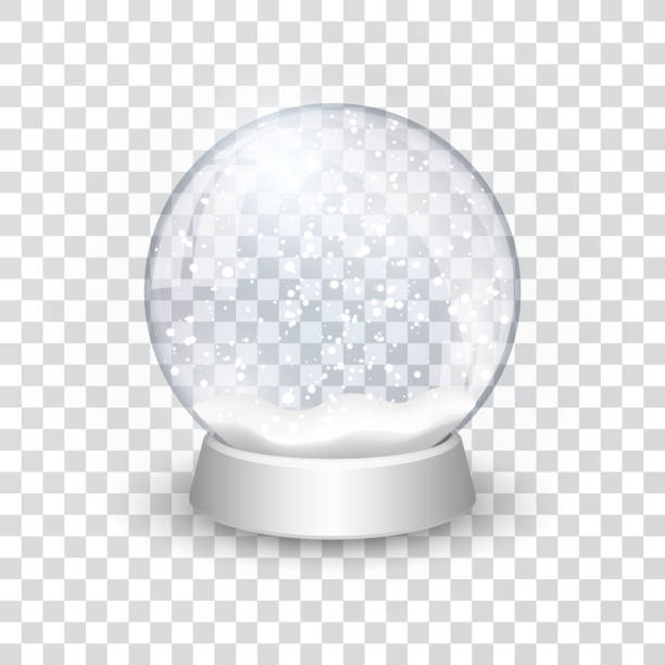 snow globe ball realistic new year chrismas object isolated on transperent background with shadow, vector illustration snow globe ball realistic new year chrismas object isolated on transperent background with shadow, vector illustration. no people stock illustrations
