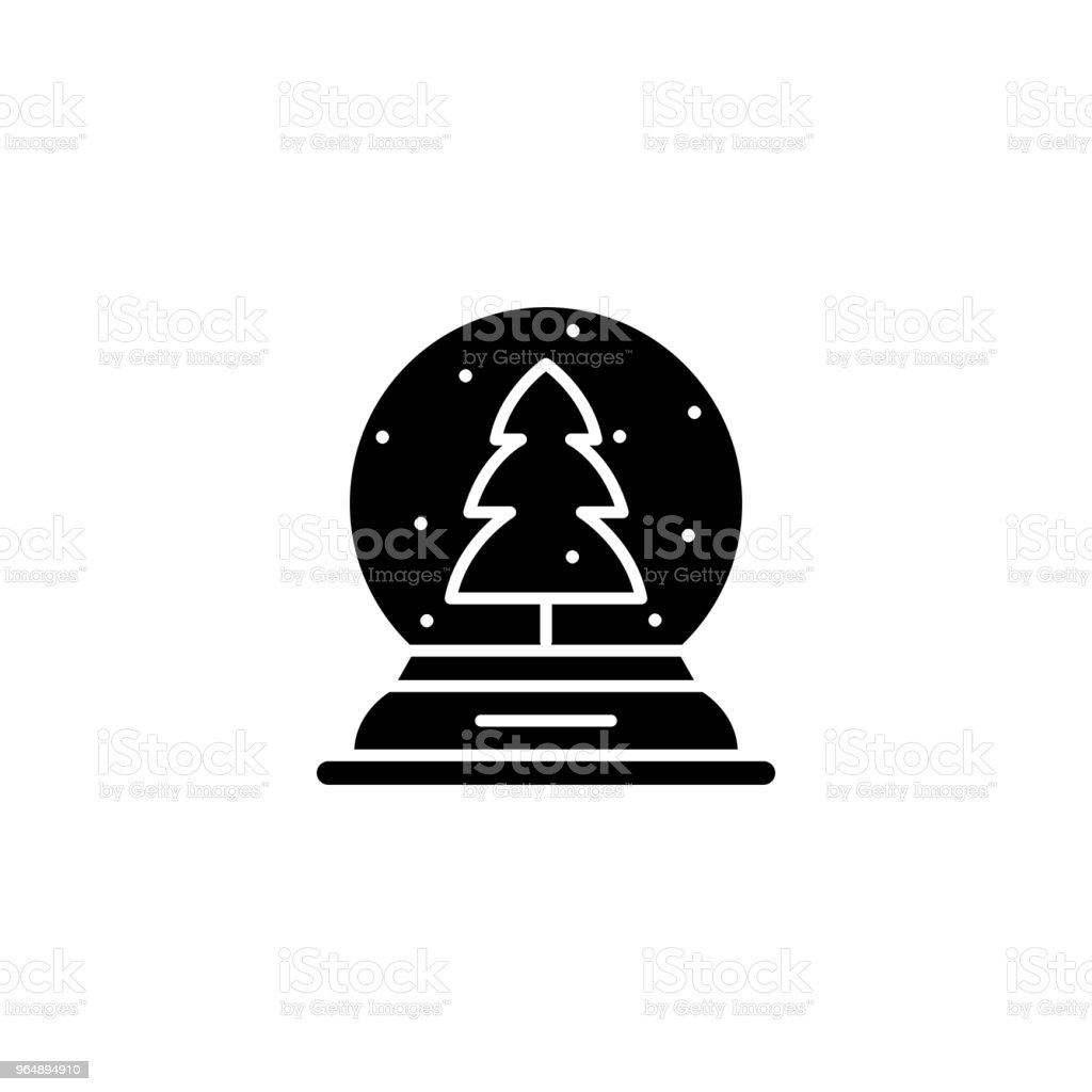 Snow globe black icon concept. Snow globe flat  vector symbol, sign, illustration. royalty-free snow globe black icon concept snow globe flat vector symbol sign illustration stock vector art & more images of no people