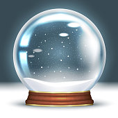 Crystal snow globe empty. 3D Realistic magic ball. Snowflakes swirl inside. Layout for a festive Christmas design. Vector illustration