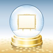 Snow Globe Golden Frame Blank