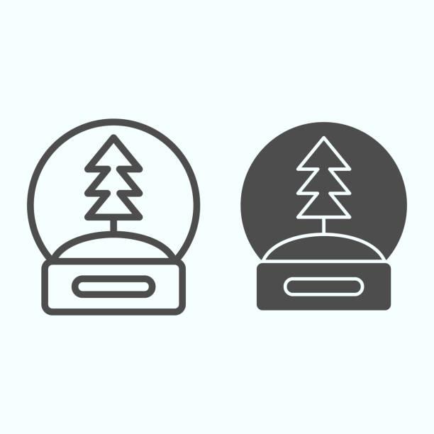 illustrazioni stock, clip art, cartoni animati e icone di tendenza di linea del globo di neve e icona solida. sfera di cristallo di vetro con souvenir dell'albero della vigilia di capodanno. concetto di design vettoriale natalizio, pittogramma in stile contorno su sfondo bianco, uso per web e app. eps 10. - souvenir
