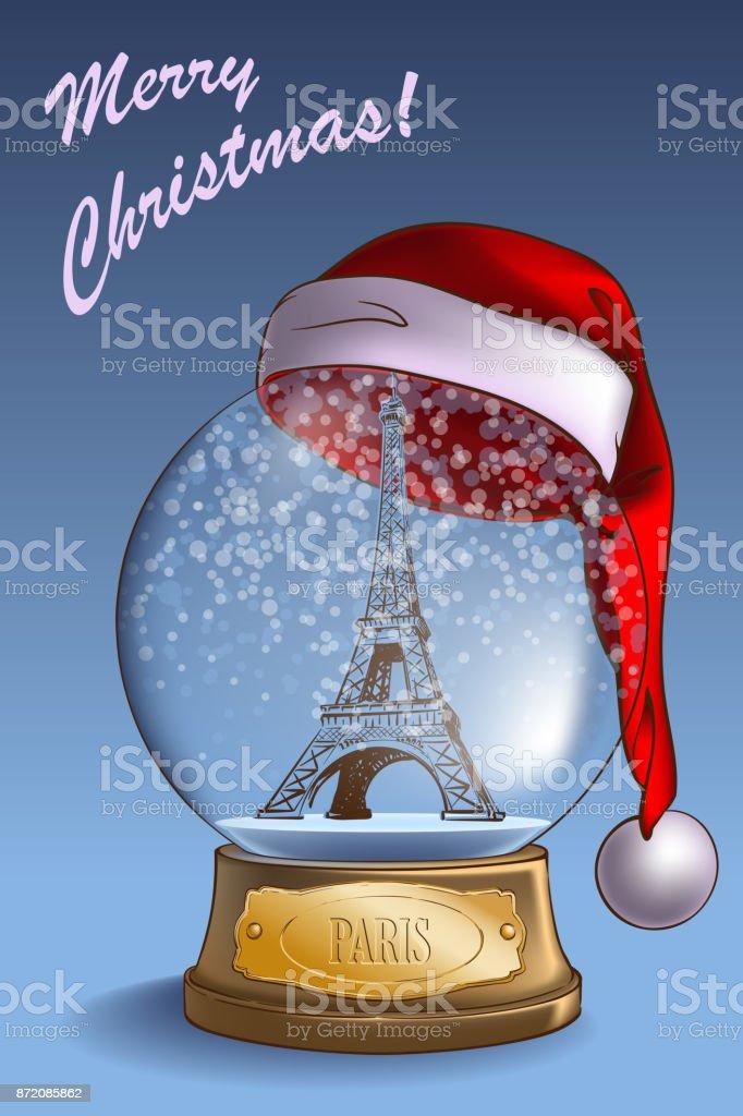 Snow Globe Paris vector art illustration