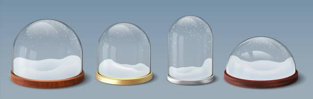 stockillustraties, clipart, cartoons en iconen met sneeuwbol. realistische glazen koepel met sneeuwvlokken, verzameling van lege bolvormige en klokbasis. kerst transparant materiaal souvenir sjabloon. vakantie aanwezig, vector 3d glanzende reeks - new world