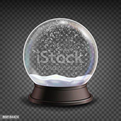 istock Snow Globe Realistic Vector.Realisitc 3d Snow Globe Toy. Winter Xmas Design Element. Isolated On Transparent Background Illustration 858184424