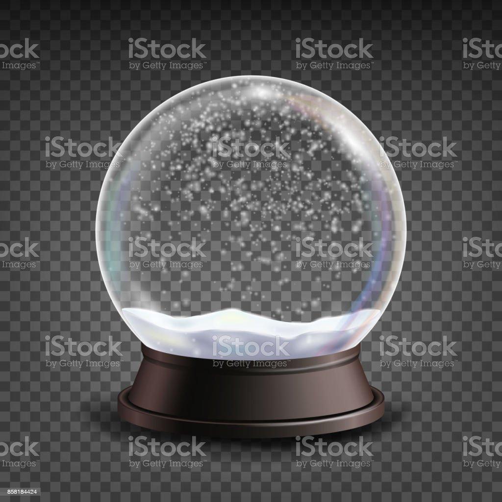 Vector.Realisitc realista globo de neve 3d Snow Globe brinquedo. Elemento de Design de inverno Xmas. Isolado em ilustração de fundo transparente - ilustração de arte em vetor