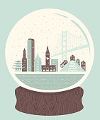A retro-styled snow globe of San Francisco, containing several of the city's landmarks.