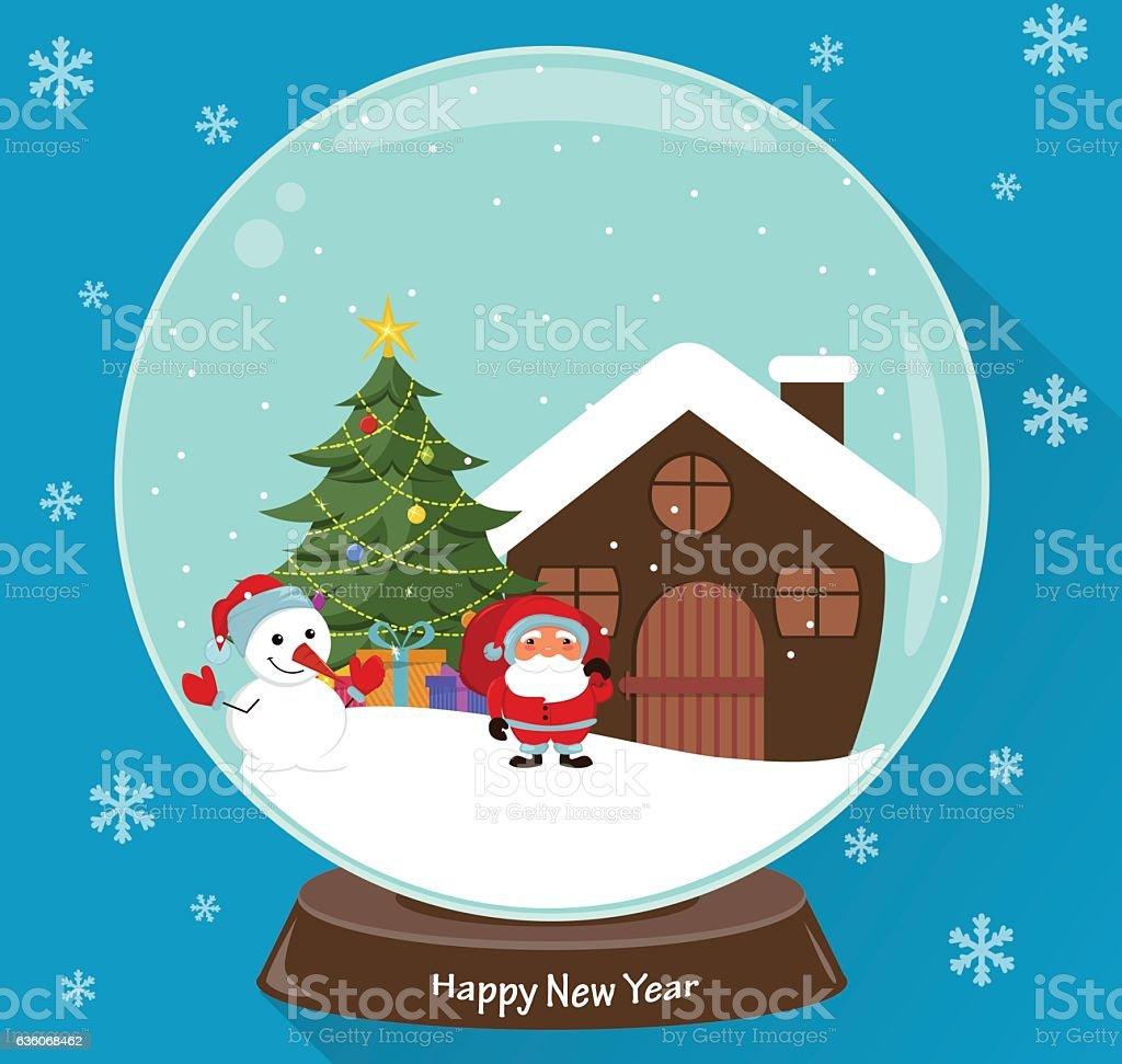 Snow Globe Santa Claus Christmas Tree Snowman Presents And