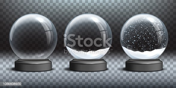 Snow globe templates. Empty glass snow globe and snow globes with snow on transparent background. Vector Christmas and New Year design elements