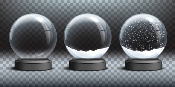 Snow globe templates. Empty glass snow globe and snow globes with snow on transparent background. Vector Christmas and New Year design elements. Snow globe templates. Empty glass snow globe and snow globes with snow on transparent background. Vector Christmas and New Year design elements no people stock illustrations