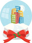 City in a snow globe.No gradient or transparency.Zip contains high resolution jpeg,Ai8,eps8 and pdf.