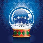 Snow Globe with Santa, Reindeer, and Village.