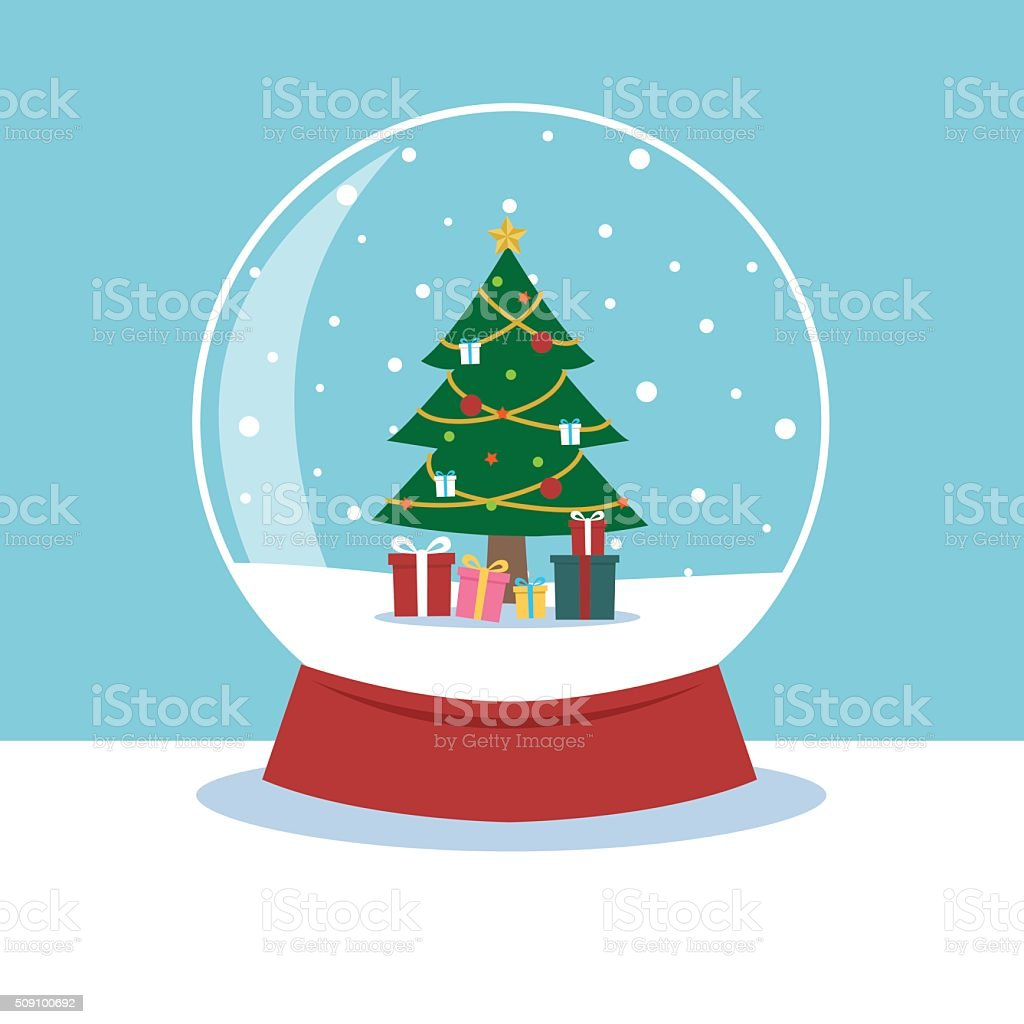 Christmas In Evergreen Snow Globe.Snow Globe With A Christmas Tree Inside Stock Illustration