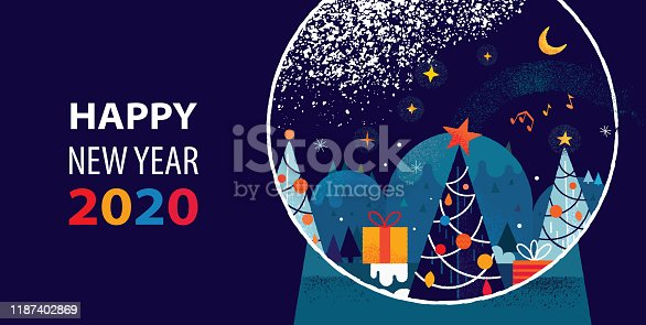 Happy New Year 2020 greetings with Christmas trees, gifts and magical landscape inside Snow globe. Vibrant flat vector illustration with hand drawn elements and textures.