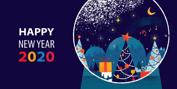 Schneekugel mit Weihnachten und Neujahr 2020 Thema – Vektorgrafik