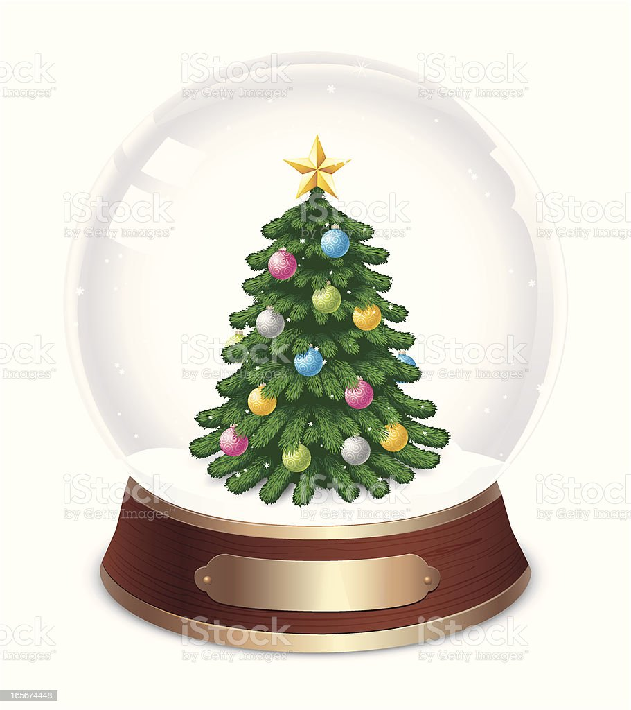 Snow Globe With Decorated Christmas Tree Inside Stock Vector Art ...