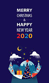 Merry Christmas and Happy New Year 2020 greetings with Christmas trees, gifts and magical landscape inside Snow globe. Vibrant flat vector illustration with hand drawn elements and textures.
