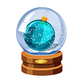 Snow globe with shiny snow and Christmas ball, golden badge on brown wooden base. Vector Christmas design element. Cartoon style, vector, isolated