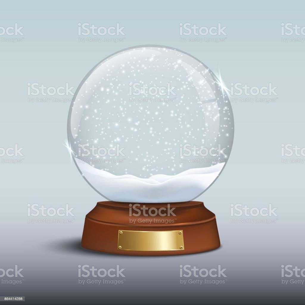 Globo de neve com neve brilhante e o emblema, em dourado em base de madeira marrom. Elemento de design de Natal em vetor. - ilustração de arte em vetor
