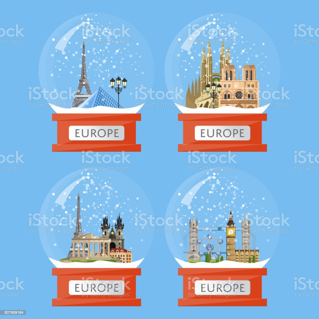 Snow globes with famous attractions vector art illustration