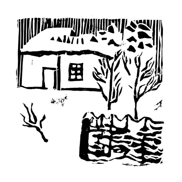 Snow house, trees and fence in the winter garden. Hand made linocut. Black composition on white background. Vector illustration. Snow house, trees and fence in the winter garden. Hand made linocut. Black composition on white background. Vector illustration linocut stock illustrations