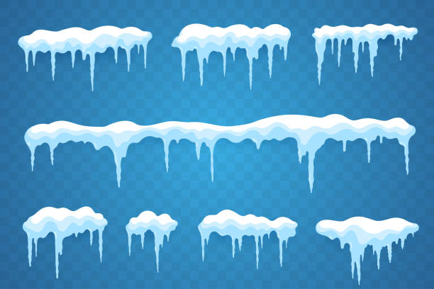 Snow icicles set isolated on transparent background. Snowcap borders. Vector snowy elements. Hanging icicles in flat style. Decoration for winter design. Snow icicles set isolated on transparent background. Snowcap borders. Vector snowy elements. Hanging icicles in flat style. Decoration for winter design. ice stock illustrations