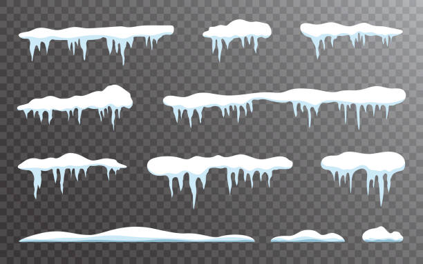 Snow icicles set on transparent backdrop. Snow caps collection. Snowdrift template isolated. Winter elements and snowy objects. White snowcap borders. Vector illustration Snow icicles set on transparent backdrop. Snow caps collection. Snowdrift template isolated. Winter elements and snowy objects. White snowcap borders. Vector illustration. snowdrift stock illustrations