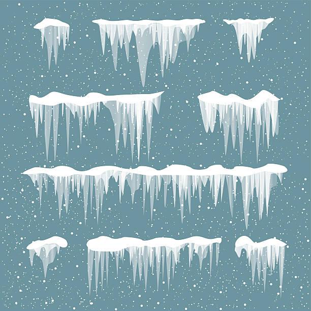 snow icicles set - eiszapfen stock-grafiken, -clipart, -cartoons und -symbole