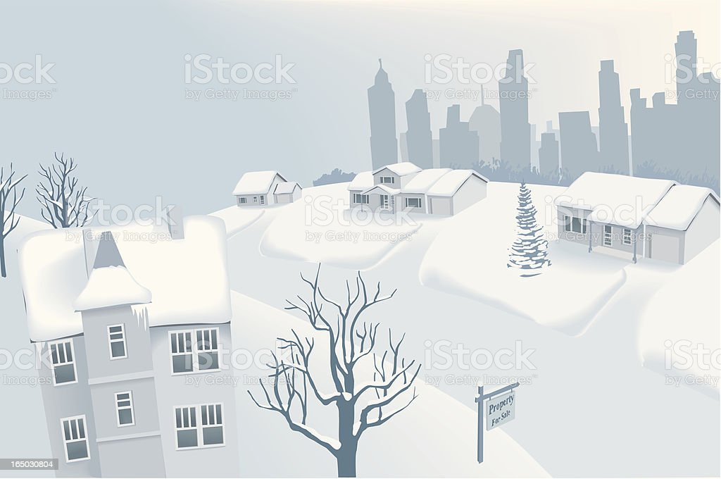 Snow in Suburban Neighbourhood with Silhouette of Downtown vector art illustration